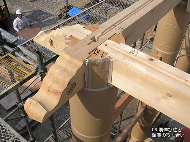 隅伸び柱と頭貫の取り合い