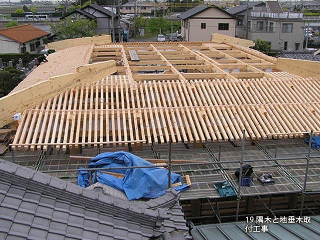 隅木と地垂木取付工事